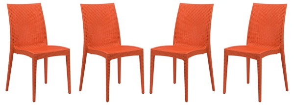 4 LeisureMod Weave Orange Mace Indoor Outdoor Armless Dining Chairs LSM-MC19OR4