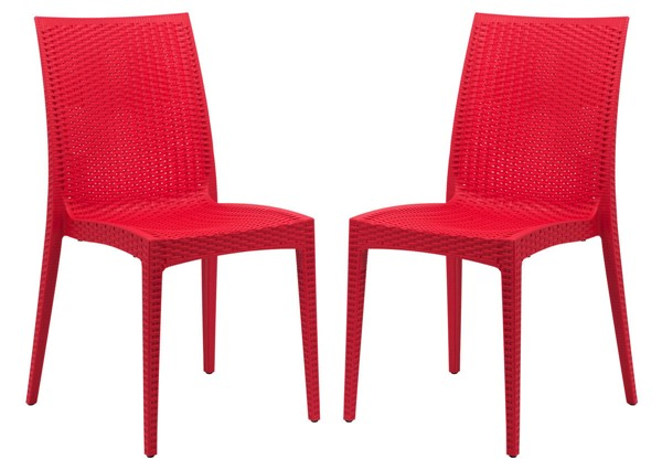 2 LeisureMod Weave Red Mace Indoor Outdoor Armless Dining Chairs LSM-MC19R2