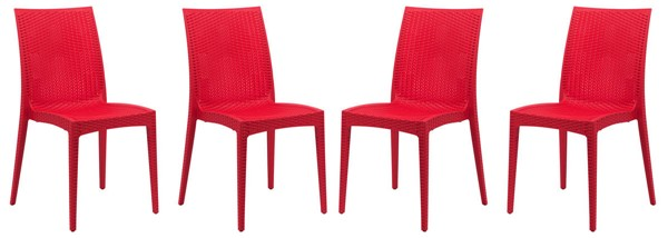 4 LeisureMod Weave Red Mace Indoor Outdoor Armless Dining Chairs LSM-MC19R4