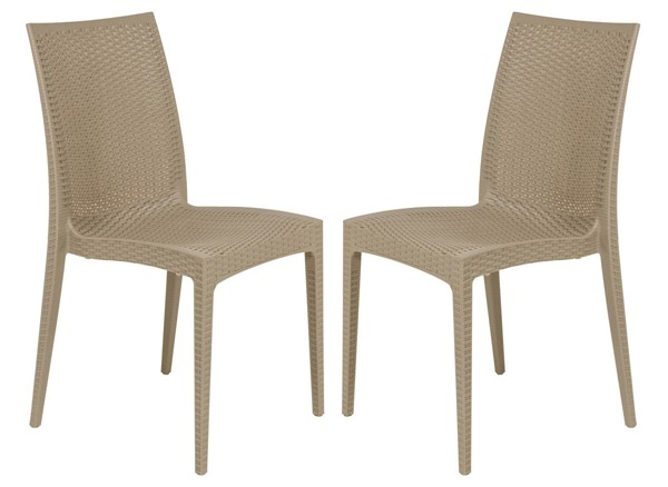Design Edge Henty 2  Taupe Mace Indoor Outdoor Armless Dining Chairs DE-22820349