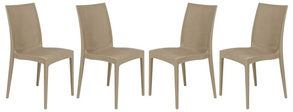 Design Edge Henty 4  Taupe Mace Indoor Outdoor Armless Dining Chairs DE-22820369