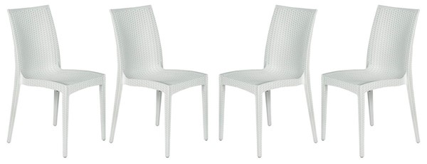 Design Edge Henty 4  White Mace Indoor Outdoor Armless Dining Chairs DE-22371089