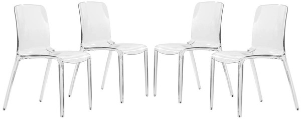 4 LeisureMod Murray Clear Dining Chairs LSM-MC20CL4