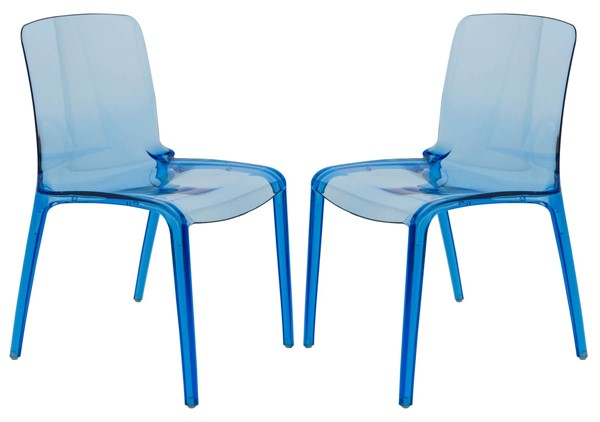 2 LeisureMod Murray Transparent Blue Dining Chairs LSM-MC20TBU2