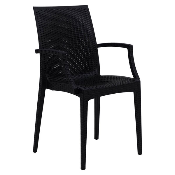 Design Edge Henty  Black Mace Indoor Outdoor Arm Chair DE-22371189