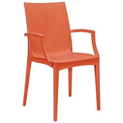LeisureMod Weave Orange Mace Indoor Outdoor Arm Chair LSM-MCA19OR