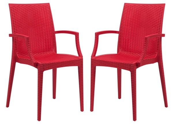 Design Edge Henty 2  Red Mace Indoor Outdoor Arm Chairs DE-22371259