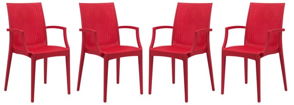 Design Edge Henty 4  Red Mace Indoor Outdoor Arm Chairs DE-22371319