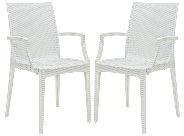 Design Edge Henty 2  White Mace Indoor Outdoor Arm Chairs DE-22371219