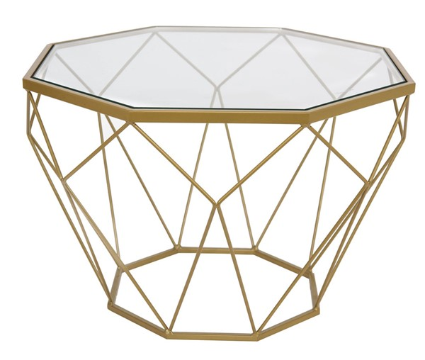 LeisureMod Malibu Gold Small Octagon Glass Coffee Table LSM-MD23GG