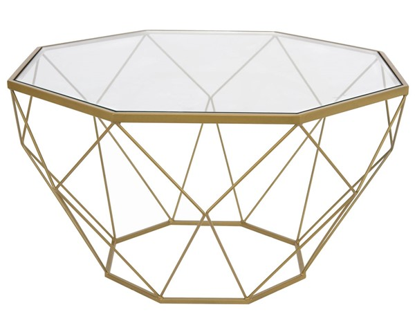 LeisureMod Malibu Gold Large Octagon Glass Coffee Table LSM-MD31GG