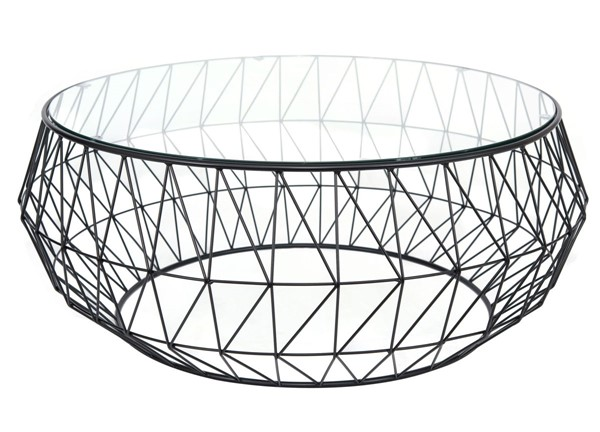 LeisureMod Malibu Black Round Glass Coffee Table LSM-MD39GBL