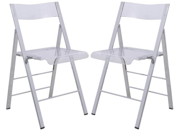 2 LeisureMod Menno Clear Folding Chairs LSM-MF15CL2