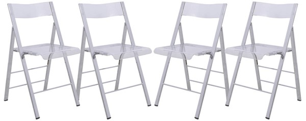 4 LeisureMod Menno Clear Folding Chairs LSM-MF15CL4