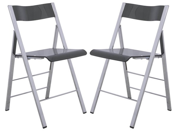 Design Edge Gillieston Heights 2  Transparent Black Acrylic Folding Chairs DE-22369834