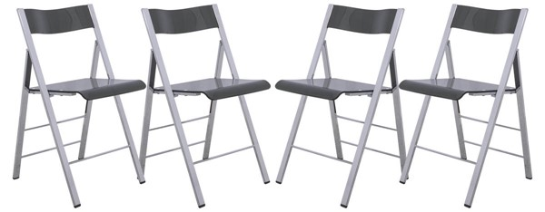 4 LeisureMod Menno Transparent Black Acrylic Folding Chairs LSM-MF15TBL4