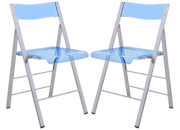 2 LeisureMod Menno Blue Acrylic Folding Chairs LSM-MF15TBU2