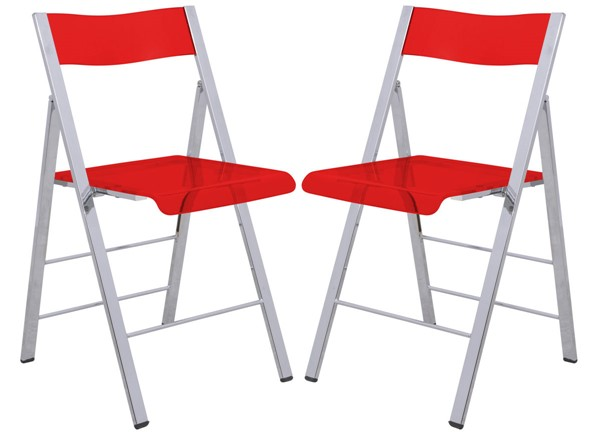 2 LeisureMod Menno Red Acrylic Folding Chairs LSM-MF15TR2