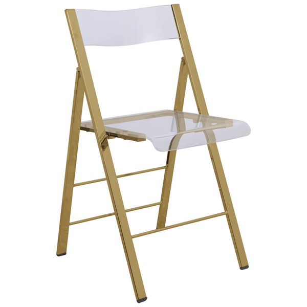 LeisureMod Menno Clear Acrylic Gold Base Folding Chair LSM-MFG15CL