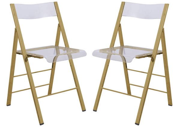 4 LeisureMod Menno Clear Acrylic Gold Base Folding Chairs LSM-MFG15CL4