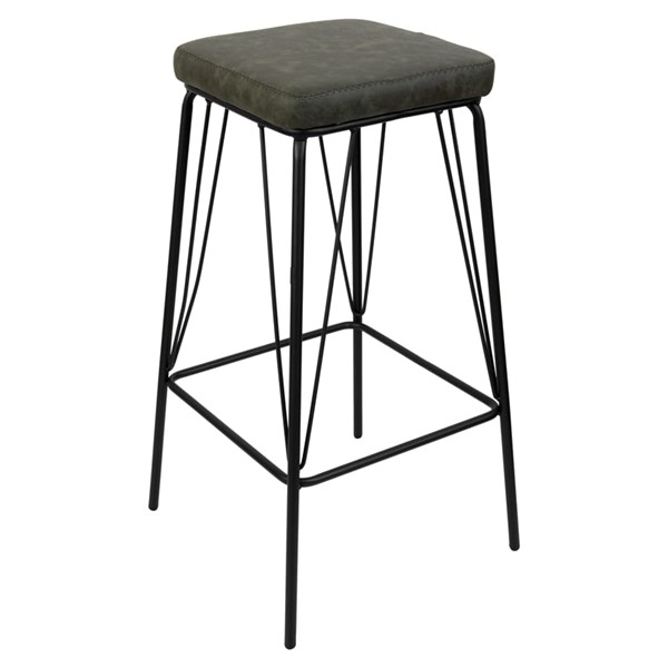 LeisureMod Millard Olive Green Leather Bar Stool With Metal Frame LSM-MS36G