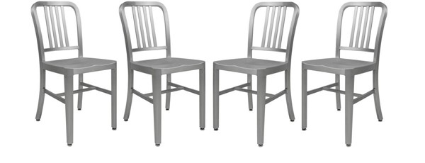 4 LeisureMod Alton Grey Aluminum Dining Side Chairs LSM-NA154