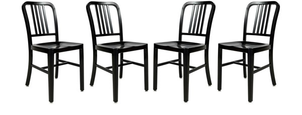 4 LeisureMod Alton Black Aluminum Dining Side Chairs LSM-NA15BL4