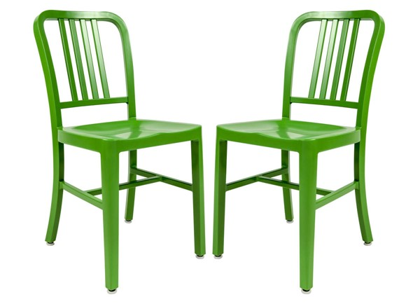 2 LeisureMod Alton Green Side Dining Chairs LSM-NA15G2