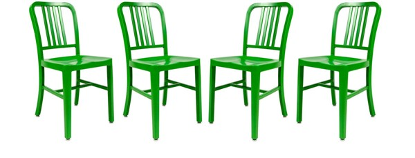 Design Edge Canowindra 4  Green Aluminum Dining Side Chairs DE-23416986