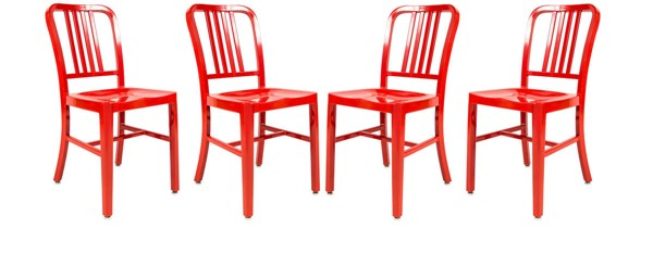 Design Edge Canowindra 4  Red Aluminum Dining Side Chairs DE-23417006