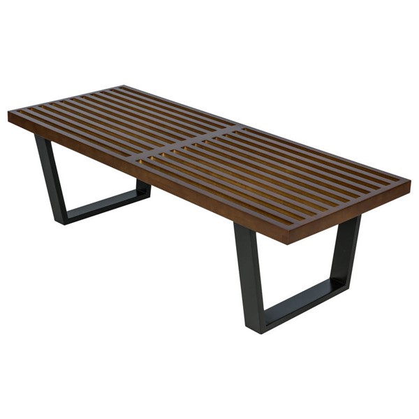 LeisureMod Nelson Dark Walnut 4 Feet Platform Bench LSM-NB48DW