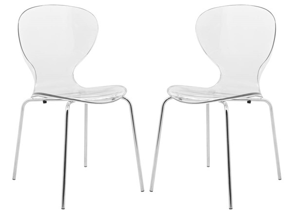 2 LeisureMod Oyster Clear Transparent Side Chairs LSM-OC17CL2