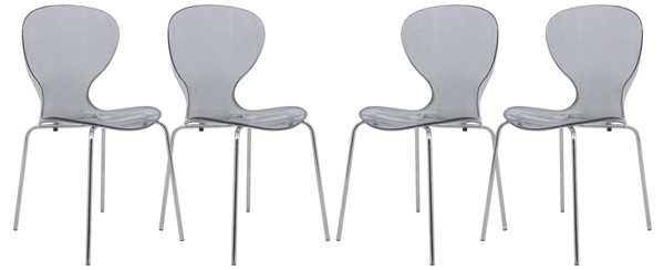 Design Edge Greenwell Point 4  Transparent Black Side Chairs DE-22370354