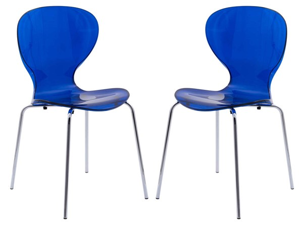2 LeisureMod Oyster Transparent Blue Side Chairs LSM-OC17TBU2