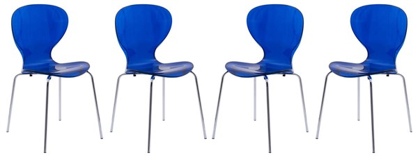 Design Edge Greenwell Point 4  Transparent Blue Side Chairs DE-22370364