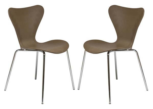 2 LeisureMod Oyster Taupe Side Chairs LSM-OC17TP2