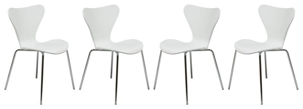 4 LeisureMod Oyster White Side Chairs LSM-OC17W4