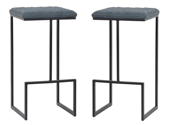 2 LeisureMod Quincy Peacock Blue Leather Bar Stools With Metal Frame LSM-QS29BU2