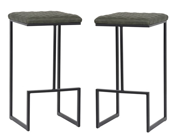 2 LeisureMod Quincy Olive Green Leather Bar Stools With Metal Frame LSM-QS29G2