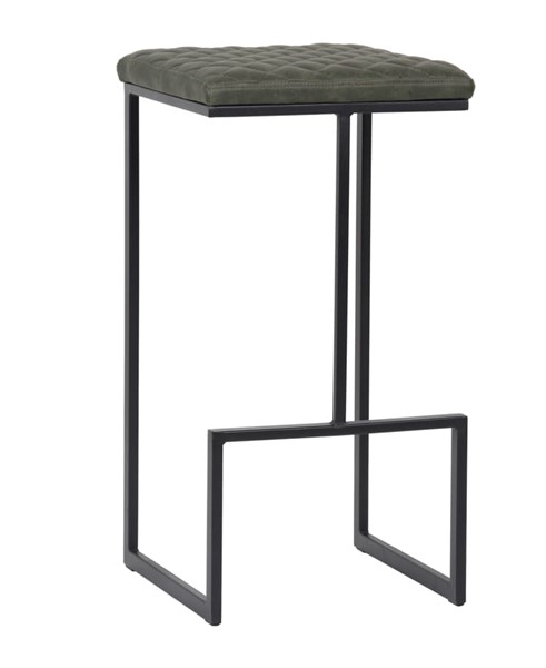 LeisureMod Quincy Olive Green Leather Bar Stool With Metal Frame LSM-QS29G