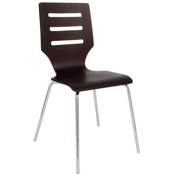 LeisureMod Revana Brown Chair with Chome Frame LSM-RC15BR