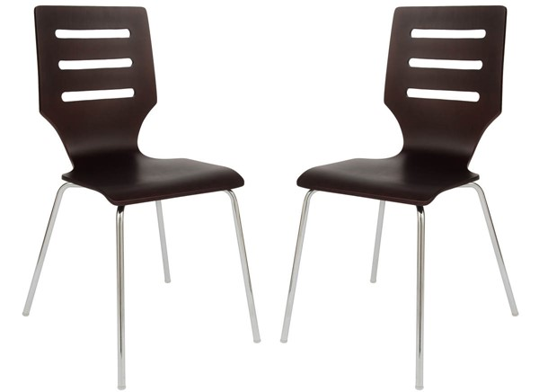 2 LeisureMod Revana Brown Plywood Chome Frame Chairs LSM-RC15BR2