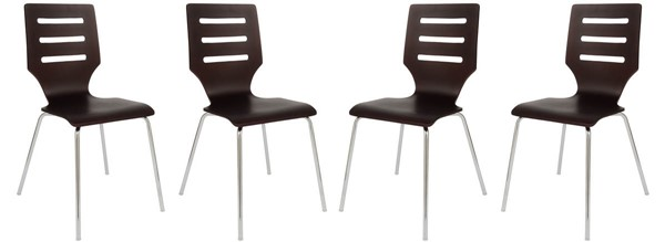 4 LeisureMod Revana Brown Plywood Chome Frame Chairs LSM-RC15BR4
