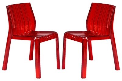 2 Leisuremod Ruffle Red Plastic Dining Chairs Lsm Rc21tr2