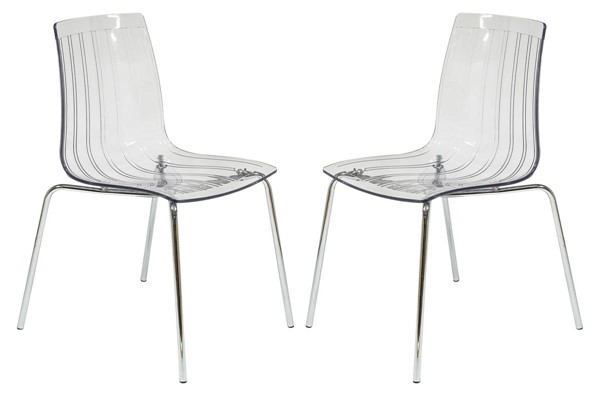 Design Edge Grenfell 2  Clear Dining Chairs DE-22370422