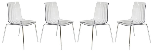Design Edge Grenfell 4  Clear Dining Chairs DE-22370452