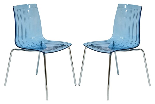Design Edge vernon 2  Transparent Blue Dining Chairs DE-22370414