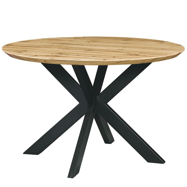 LeisureMod Ravenna Natural Wood Round Dining Table LSM-RTX47NW
