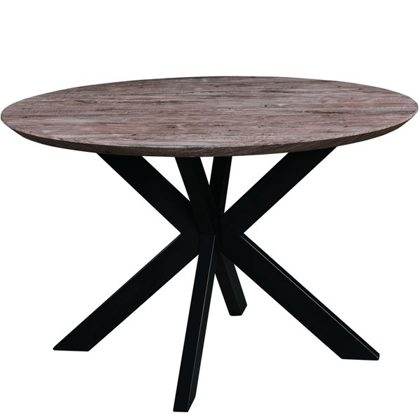 LeisureMod Ravenna Rustic Grey Wood Round Dining Table LSM-RTX47RGR