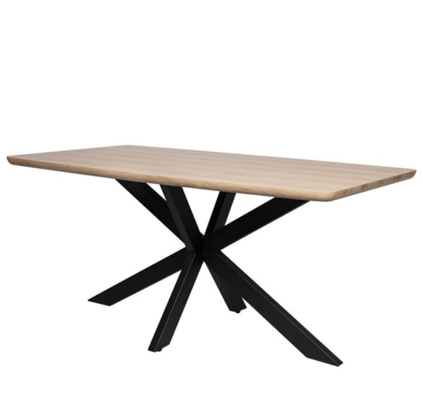 LeisureMod Ravenna Maple 63 Inch Wood Top Metal Base Dininig Table LSM-RTX63GR